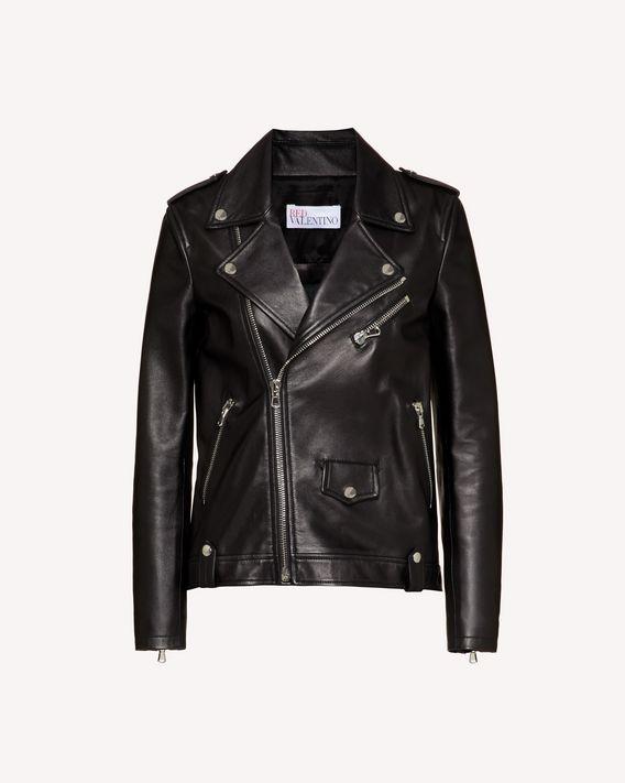 REDValentino 褶裥细节皮革机车夹克