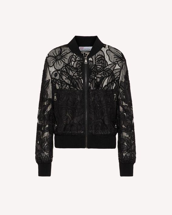 REDValentino 镂空欧根纱刺绣细点网眼薄纱飞行夹克