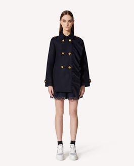 REDValentino 褶饰细节羊毛羊绒混纺卡班大衣
