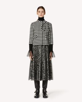 REDValentino 蝴蝶结装饰 Vichy 格纹羊毛夹克