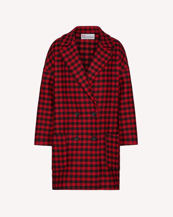 REDValentino Vichy 格纹羊毛阔型大衣