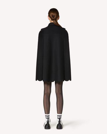 REDValentino 印纹衬里扇形细节羊毛羊绒混纺斗篷