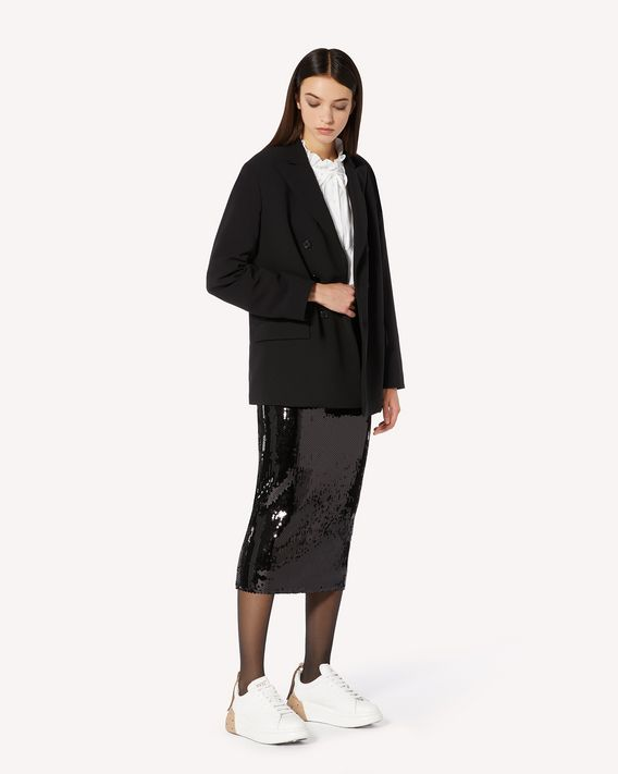 REDValentino 褶裥细节弹力卡迪双排扣夹克