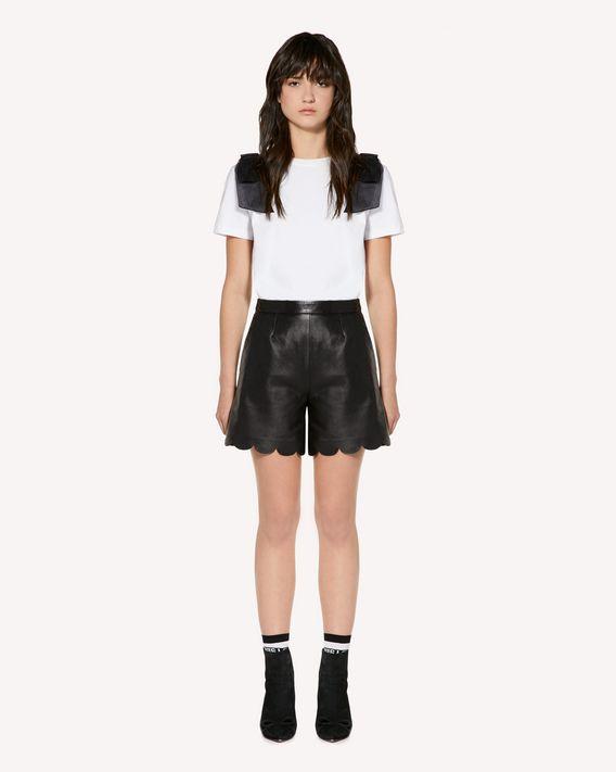 REDValentino 扇形细节皮革短裤